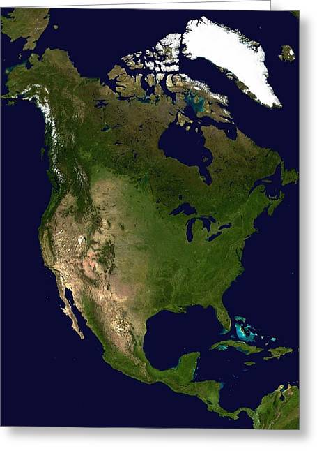 North America From Space Greeting Card