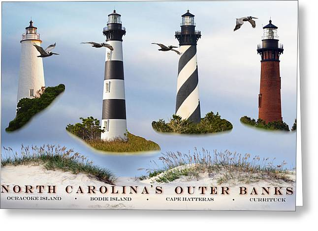 North Carolina's Rt. 12 Lighthouses Greeting Card