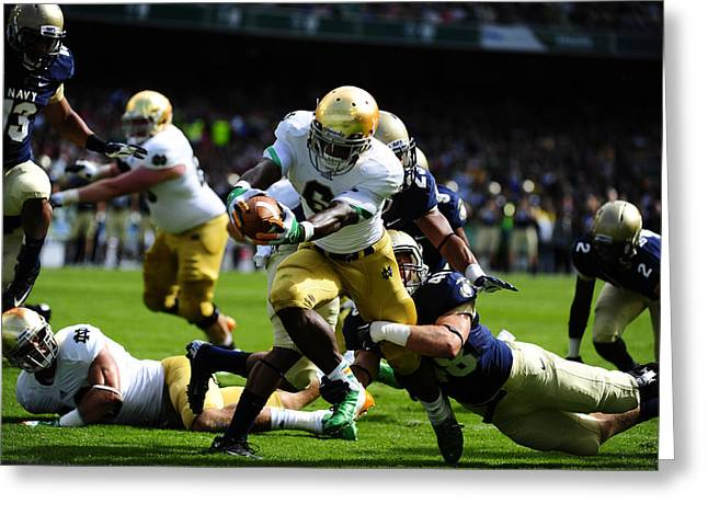 Notre Dame Versus Navy Greeting Card by Mountain Dreams