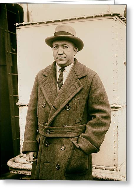 Notre Dame's Legendary Head Coach Knute Rockne On A Ship's Deck -1920s Greeting Card by Mountain Dreams