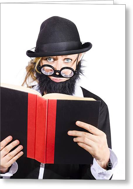 Nutty Scientific Professor Reading Book Greeting Card by Jorgo Photography - Wall Art Gallery