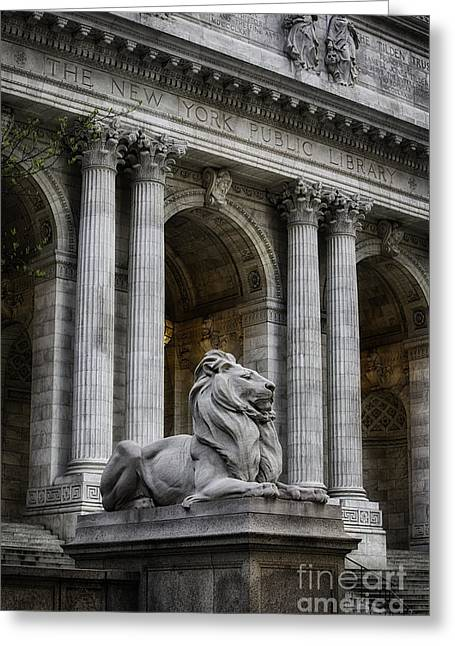 Ny Library Lion Greeting Card by Jerry Fornarotto