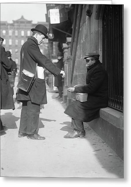 Nyc Beggar, C1915 Greeting Card by Granger