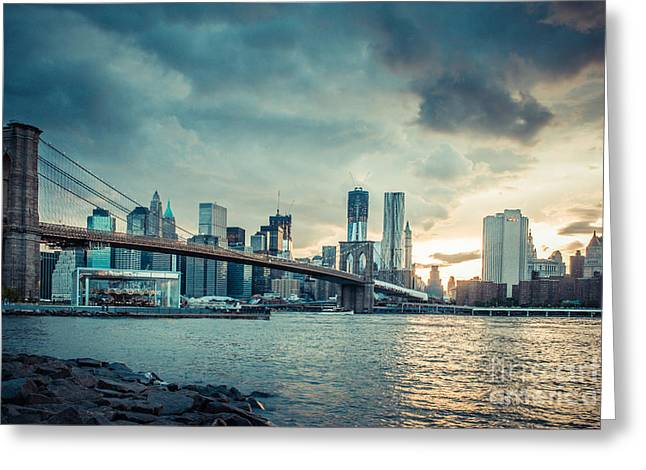 Nyc Skyline In The Sunset V1 Greeting Card by Hannes Cmarits