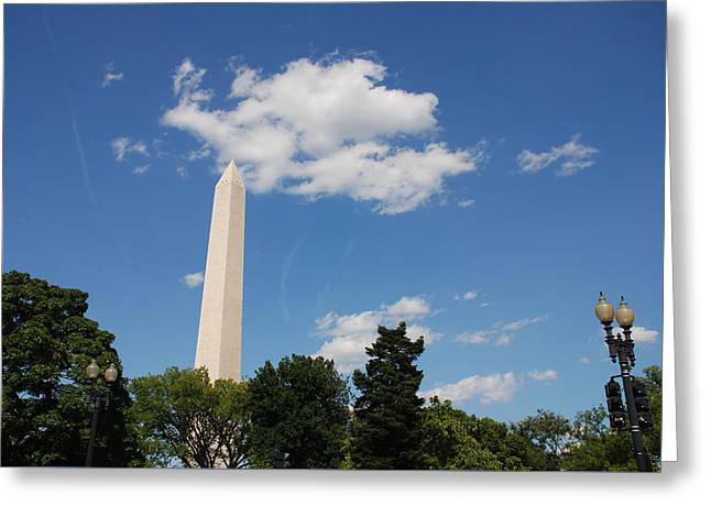Obelisk Rises Into The Clouds Greeting Card