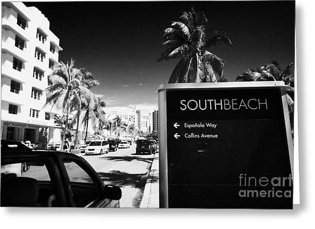 Ocean Drive Early Morning Art Deco District Miami South Beach Florida Usa Greeting Card