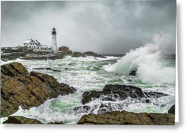 Ocean Storm At Portland Head Greeting Card