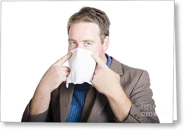 Office Man Avoiding Contagious Flu Like The Plague Greeting Card by Jorgo Photography - Wall Art Gallery