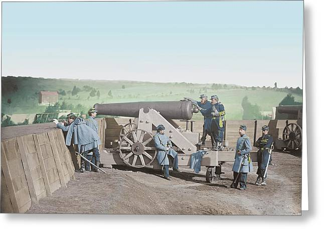 Officers Operating A Cannon At Fort Greeting Card