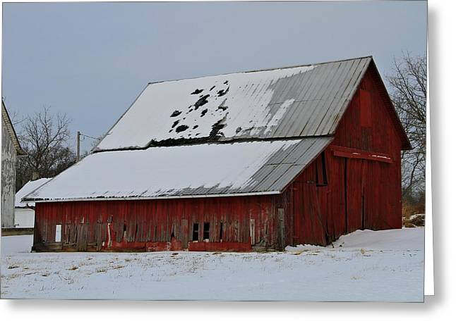 Ohio Barn In Winter Greeting Card