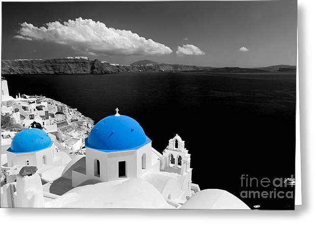 Oia Town On Santorini Island Greece Blue Dome Church Black And White. Greeting Card