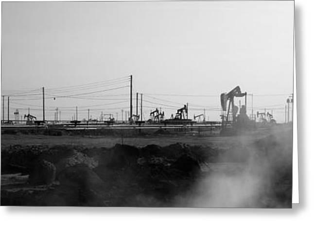 Oil Drills In A Field, Maricopa, Kern Greeting Card