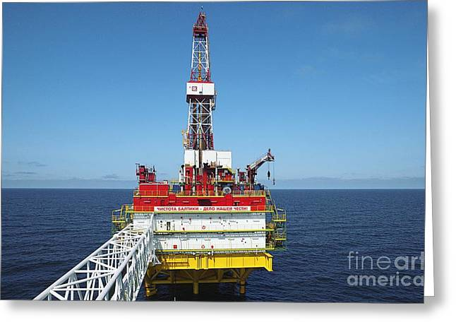 Oil Production Rig, Baltic Sea Greeting Card by RIA Novosti
