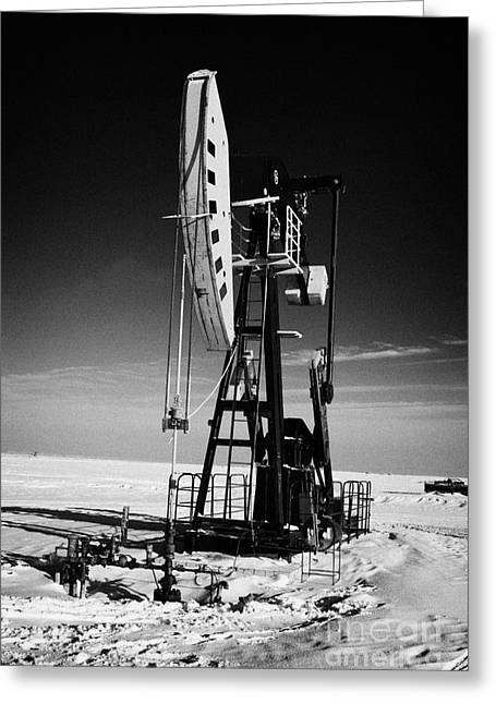 oil pumpjack in winter snow Forget Saskatchewan Greeting Card
