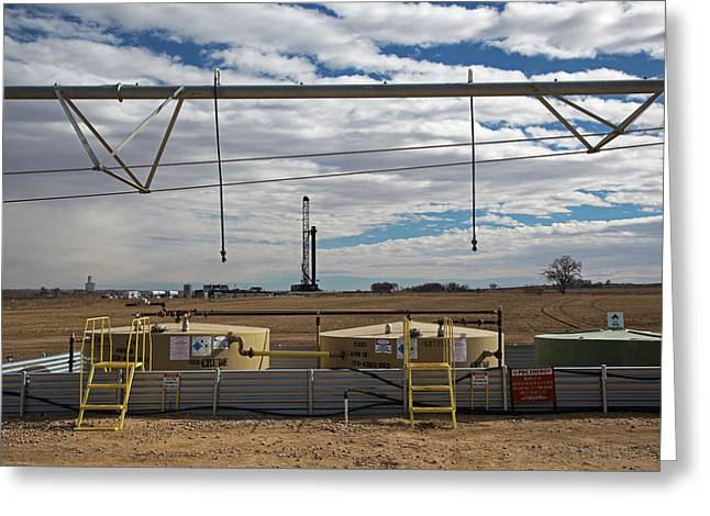 Oil Rig And Irrigation Equipment Greeting Card