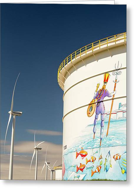 Oil Terminal And Wind Turbines Greeting Card by Ashley Cooper