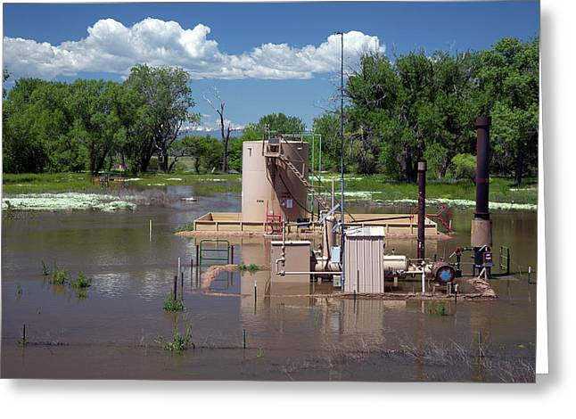 Oil Well Flooded By River Greeting Card by Jim West