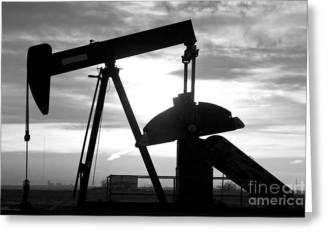 Oil Well Pump Jack Black And White Greeting Card