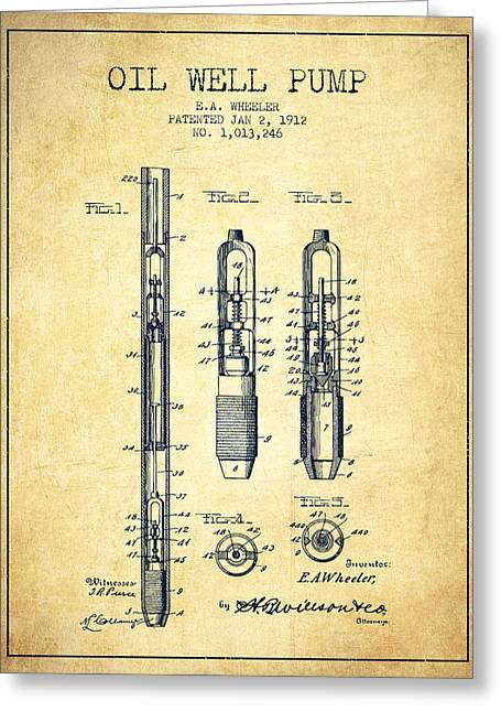 Oil Well Pump Patent From 1912 - Vintage Greeting Card by Aged Pixel