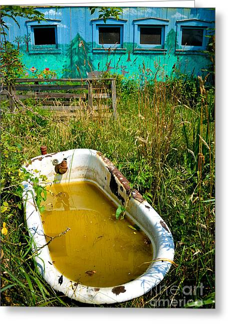 Old Bathtub Near Painted Barn Greeting Card