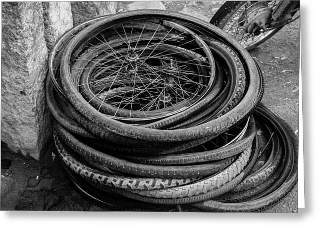 Old Bicycle Tires And Wheels Greeting Card