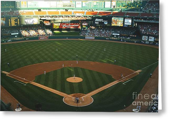 Greeting Card featuring the photograph Old Busch Field by Kelly Awad