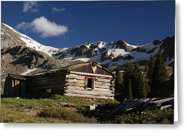 Old Cabin In Rocky Mountains Greeting Card