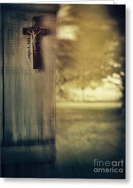 Old Cross Of Window Shutter Door Greeting Card by Sandra Cunningham