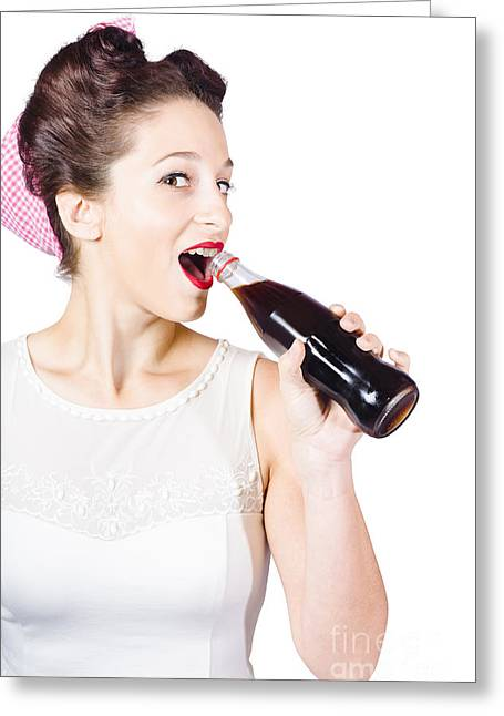 Old-fashion Pop Art Girl Drinking From Soda Bottle Greeting Card by Jorgo Photography - Wall Art Gallery