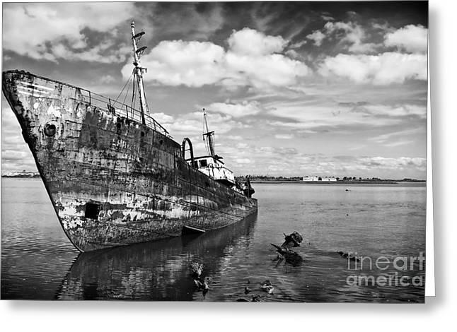 Old Fishing Ship Wreck Greeting Card
