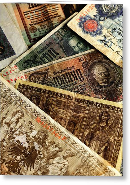 Old German Banknotes Greeting Card by Falko Follert