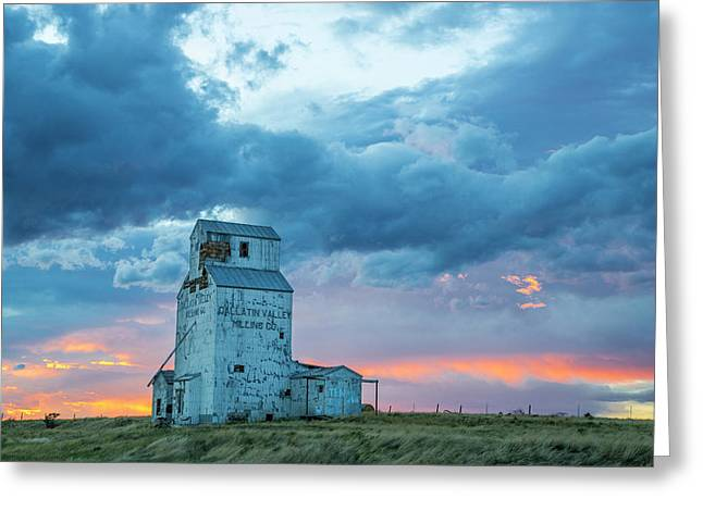 Old Granary With Sunset Clouds Greeting Card by Chuck Haney