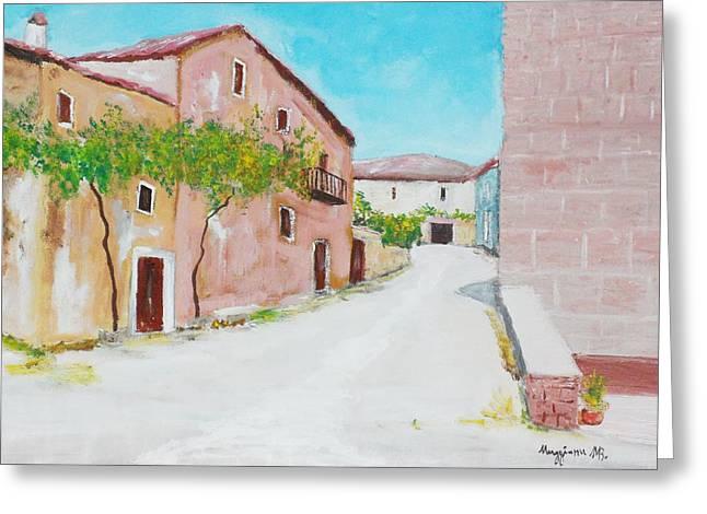 Old Houses Near The Old Church Greeting Card by Mauro Beniamino Muggianu