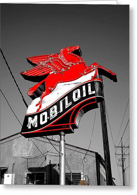 Old Mobil Oil Sign Greeting Card by Mountain Dreams