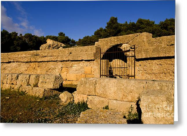 Old Ruins Of Roman Amphitheater, Tunisia Greeting Card by Bill Bachmann