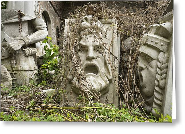 Old Statues In Skopje Greeting Card by For Ninety One Days