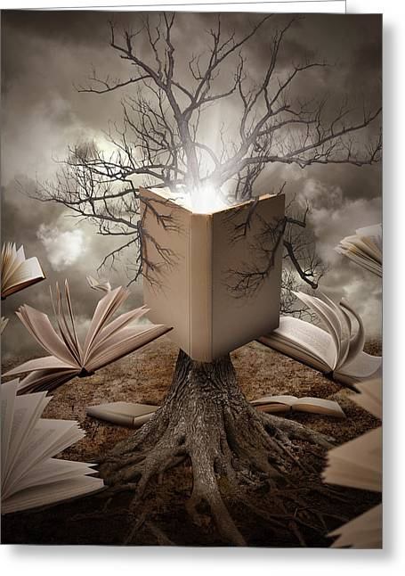 Old Tree Reading Story Book Greeting Card