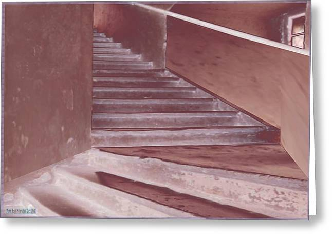 Old Vintage Building Wide Staircases Digitally Painted For Decoration Art Greeting Card
