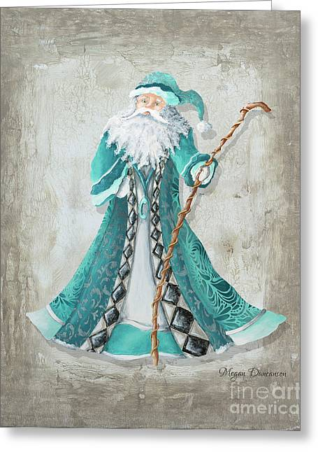 Old World Style Turquoise Aqua Teal Santa Claus Christmas Art By Megan Duncanson Greeting Card