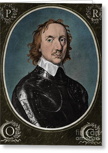 Oliver Cromwell, English Head Of State Greeting Card by Photo Researchers