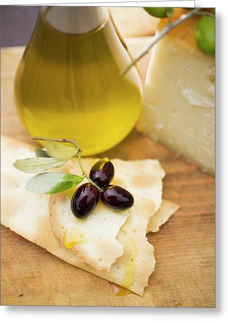 Olives, Crackers, Olive Oil And Parmesan Greeting Card