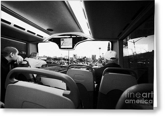 on board the top deck of the deuce bus travelling along the strip Las Vegas Nevada USA Greeting Card by Joe Fox