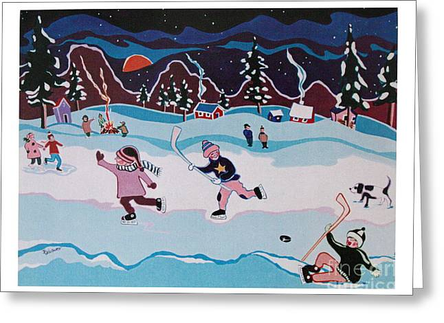 Greeting Card featuring the painting On Frozen Pond by Joyce Gebauer