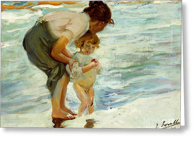 On The Beach Greeting Card by Joaquin Sorolla y Bastida
