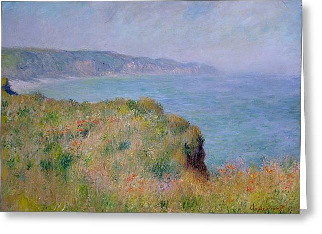 On The Cliff At Pourville Greeting Card by Claude Monet