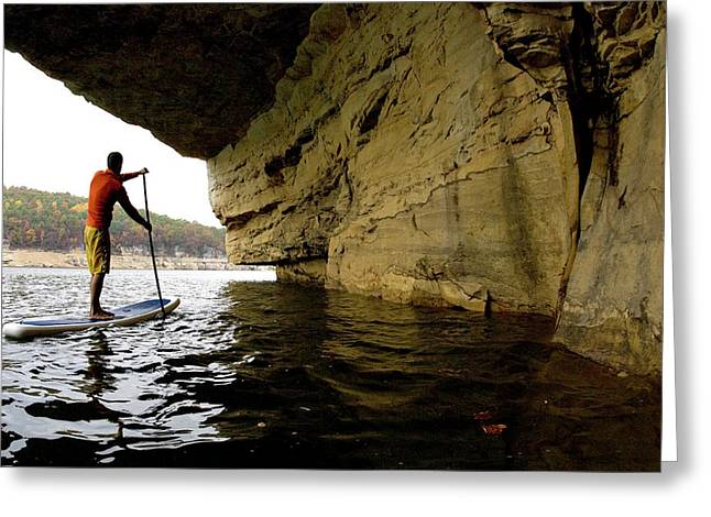 One Man Stand Up Paddleboarding Greeting Card