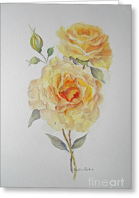 Greeting Card featuring the painting One Rose Or Two by Beatrice Cloake