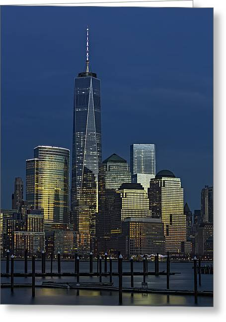 One World Trade Center At Twilight Greeting Card by Susan Candelario