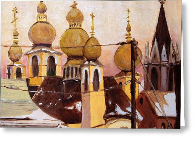 Greeting Card featuring the painting Onion Domes by Julie Todd-Cundiff
