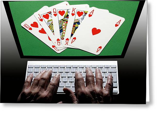 Online Gambling Greeting Card by Victor De Schwanberg